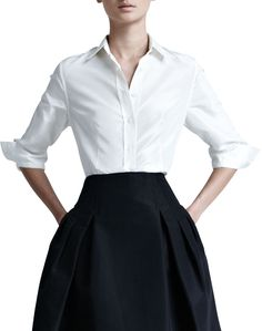 """Use B5929, view A. Requires 1 3/4 yard 56"""" silk taffeta. Use Vogue 8833 for a wrap top instead of a button-down. Inspired by Carolina Herrera Silk Taffeta Skirt."""
