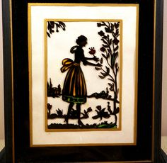 Vintage 1930s Silhouette Reverse Painted Framed Picture by MCFOOL