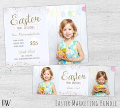 Easter Photography Marketing Board Template, Easter Mini Session Template, Photography Marketing, Facebook, Photoshop, Photographer, 06-002
