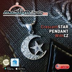 Small Sterling Silver CZ Crescent Moon Star Pendant for Necklaces - MuslimJewelry.com - #muslimjewelry #islamicsymbol #crescentmoon #jewelry #muslimjewellery #muslimpendant #islamicpendant #islamicjewelry #crescent #muslimstyle #muslimfashion #fashionmuslim #muslimahfashion Star Pendant, Muslim Fashion, Stars And Moon, Washer Necklace, Necklaces, Sterling Silver, Jewelry, Jewlery, Jewerly