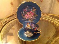waldershof bavaria N Germany  Handarbeit 22 Karat Gold Dark Teal Tea Set