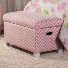 Charlotte Traditional Pink Wood Fabric Storage Bench