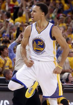 Golden State Warriors' Stephen Curry celebrates a 3-pointer in 4th quarter of Warriors' 99-98 win over Houston Rockets in Game 2 of NBA Playoffs' Western Conference Finals at Oracle Arena in Oakland, Calif., on Thursday, May 21, 2015. Photo: Scott Strazzante, The Chronicle