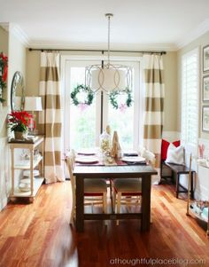 Do neutral colors in dining room so you can decorate for any season