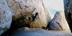 Daniela Schmidt climbing with Green Five Tooth Monster Chalk Bag by Crafty Climbing @craftyclimbing