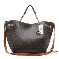 High Quality And Great Reputation Of Michael Kors Jet Set Logo Large Brown Totes Here Is Just For You!