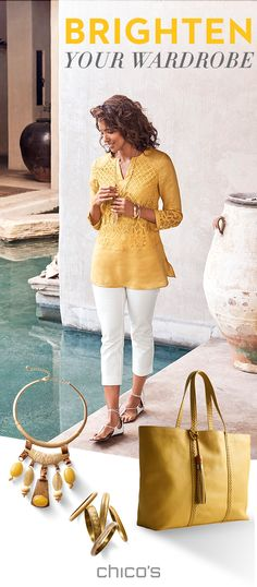 Yellow is more than mellow. It's a day brightener, a mood booster – sunshine for your closet. Discover new looks in a gorgeous array of golden yellow shades at Chico's.