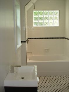 subway tile shower glass block window | ... Subway Tile Tub Surround with Black Glass Detail - Glass Block Window