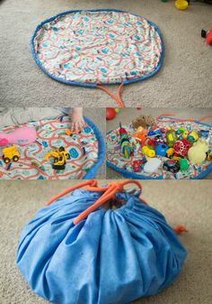Maybe make several, one for cars, one for dinos, etc, each with coordinating inner fabric as a playmat? This DIY Toy Cinch Bag has been a lifesaver -- it was SO easy to make and my son loves it. This tutorial is easy to follow, and the bag makes for a great gift.