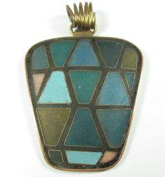 Stegemaille Anhänger Vintage 50er Schibensky ? Emaile enamel pendant S43 N4