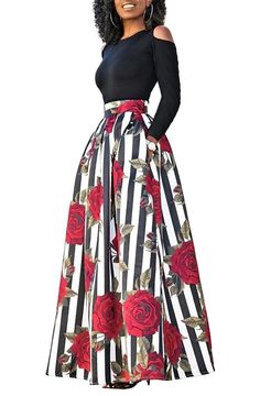 5c0bbad865758 Women s Cold Shoulder Two Piece Floral Print Pockets Long Party Skirts Dress  - Red 2 - CT187Q062ZZ