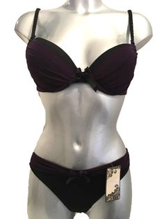 0bfb9b355b222 New Purple   Black Bra   Thong Set Underwired Padded Moulded Plunge Push Up