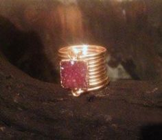 Red Small Druzy Square Wire Wrap Ring