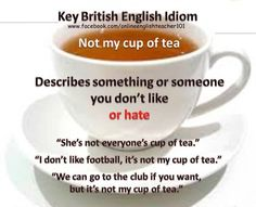 If something is not your cup of tea, it is not the type of thing of that you like.