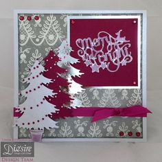 Linda Fitzsimmons - Die'sire Classiques Only Words Christmas - Merry and Bright Classiques Only Words - Classiques: Traditional Christmas Tree - Centura Pearl – Hint of Silver - Pink Core'dinations - Silver Mirri Paper - ribbon & gems - Collall 3D glue gel - #crafterscompanion #Christmas