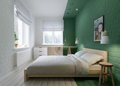 Green Color-Blocked Bedroom in Russia