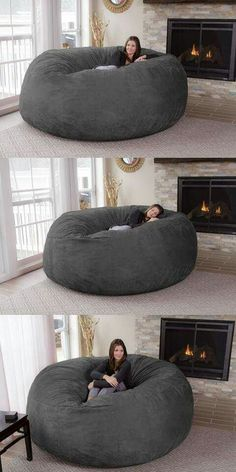 Turn a day of lounging around your house into paradise by plopping down onto this jumbo bean bag chair. It's big enough to accommodate up to three people and comes with a dual layer design so you can Giant Bean Bag Chair, Large Bean Bag Chairs, Bean Chair, Room Decor Bedroom, Living Room Decor, 60s Bedroom, Dorm Room, Bedrooms, Bedroom Lighting