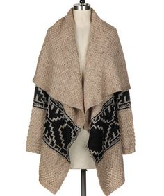 Another great find on #zulily! Mocha Tribal Drape Open Cardigan #zulilyfinds
