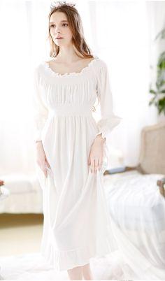 Cotton Greece White Long Sleeve Horizontal Collar Maxi Nightgown ...  Vintage Cotton d3596f5fa
