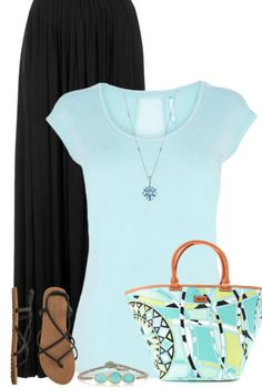 Spring 2014 Fashion Trends | Aquamarine Top With Sandals & Bag - Spring Fashion Outfits for Women