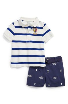 Ralph Lauren Striped Polo & Shorts (Baby Boys) available at #Nordstrom