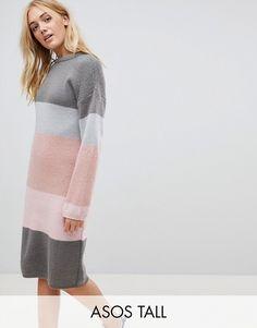 ASOS TALL – Grob gestricktes Kleid mit Streifenmuster Mokka Braun, Soft  Summer, Strickkleid, b87451b040