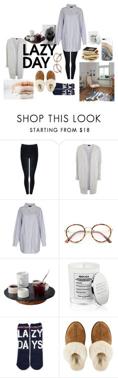 """""""Lazy Day."""" by bowmanella ❤ liked on Polyvore featuring M&Co, Topshop, Lazy Oaf, Slated, Maison Margiela, P.J. Salvage, UGG, Nicole Miller, LazyDay and casualoutfit"""