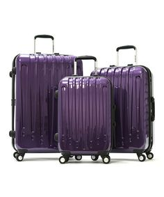 I want this #Purple Dynasty Wheeled Three-Piece Travel Case Set by Olympia on #zulily today!  I need new #luggage and I love that this set matches, is hard shelled, and an unusual pretty color!