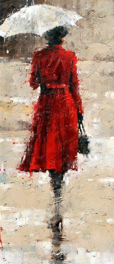 Andre Kohn 1972,  Russian-born Figurative Impressionist painter,  White umbrellas