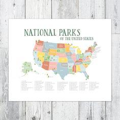 Adventure Awaits US National Park Map NurseryKids Print 16x20