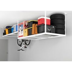 NewAge Products Adjustable Width Ceiling Storage Rack - Overstock Shopping - Great Deals on Newage Products Garage Storage Overhead Storage Rack, Ceiling Storage Rack, Garage Storage Racks, Garage Storage Solutions, Garage Shelving, Storage Boxes, Storage Organization, Storage Spaces, Basement Storage