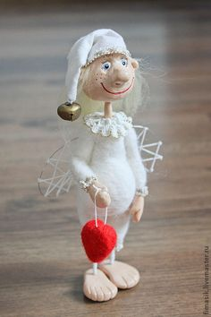 Человечки ручной работы. Ярмарка Мастеров - ручная работа. Купить Домовой ангел Ерема. Handmade. Ангелочек, белый, шерсть
