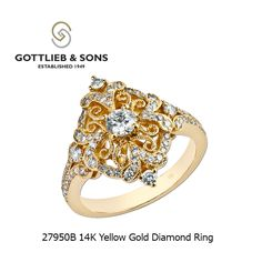 Bring home this impressively intricate 14K Yellow Gold Diamond ring. This vintage inspired ring features a round center #diamond surrounded by a intricate ribbon design of bead set round diamonds. Visit your local #GottliebandSons retailer and ask for style number 27950B. http://www.gottlieb-sons.com/product/detail/27950B