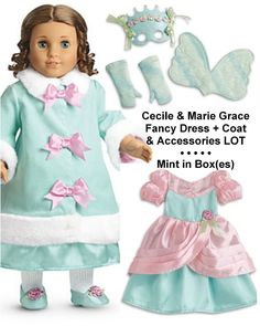 AMERICAN GIRL CECILE Meet Teal Satin Dress~Holiday Gown~MARIE-GRACE~Caroline