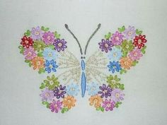hand-embroidered butterfly by Melys Hand-Embroidery Butterfly Embroidery, Silk Ribbon Embroidery, Hand Embroidery Designs, Vintage Embroidery, Embroidery Applique, Cross Stitch Embroidery, Embroidery Patterns, Machine Embroidery, Crazy Quilting