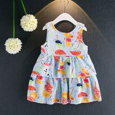 Sale 26% (17.99$) - Kid Girls Cute Candy Pattern Sleeveless Layered Dress