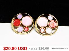 Trifari Mod Round Earrings  Clip on Style Red by thejewelseeker