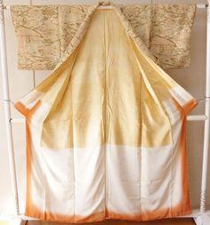 Japanese Kimono Geisha costume used Vintage dress Olange silk awase Omeshi #1