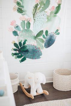 watercolor cactus wall hanging