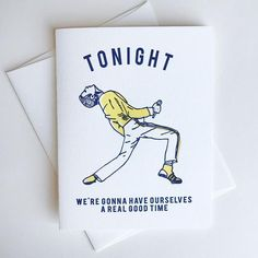Freddie Mercury Tonight Greeting Card by Steel Petal Press Fifth Business, Graduation Cards, Letterpress Printing, Freddie Mercury, Custom Items, Thank You Cards, Birthday Cards, Recycling, Greeting Cards