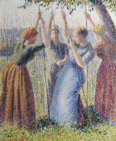 Крестьянки, сажающие горох Камиль Писсарро 1891, 55×46 см