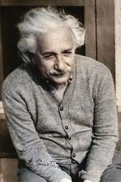 Albert Einstein at Princeton University. Picture with autograph