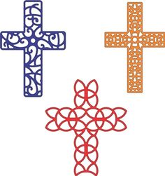 """Crosses, set of 3 - $16.95   These beautifully detailed crosses will be perfect for sympathy cards, Easter cards, maybe even a card of encouragement!  Approximate sizes:  3"""" x 2"""",  3"""" x 2"""", 3 1/8"""" x 2 3/4"""""""