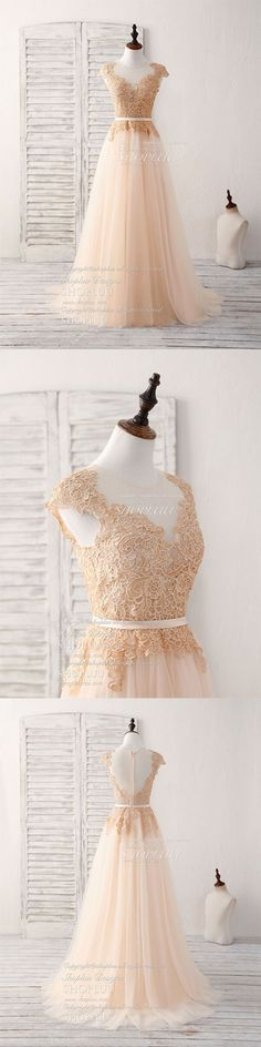 Champagne round neck tulle lace applique long prom dress, champagne lace long evening dress
