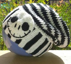 Nightmare Before Christmas themed crocheted slouchy hat by BoutiqueofVirtuosity on Etsy