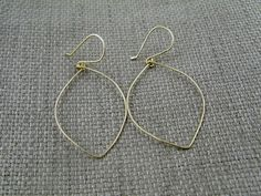 Gold Leaf Earrings  Hoops In 14K Gold Filled by SaressaDesigns, $25.00