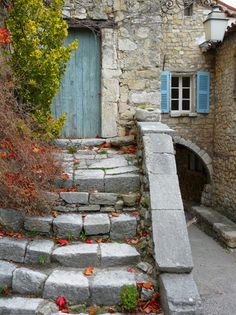 Provence street house in medieval village, France