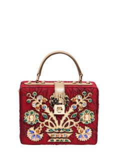 DOLCE & GABBANA - EMBELLISHED BROCADE DOLCE BAG - LUISAVIAROMA - LUXURY SHOPPING WORLDWIDE SHIPPING - FLORENCE