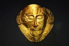 The Mask of Agamemnon. Discovered at Mycenae in 1876 by Heinrich Schliemann.