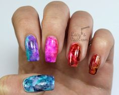 Alcohol Ink Gradient Marble Nail Art & Tutorial